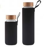 Glas Wasserflasche mit Bambus Deckel